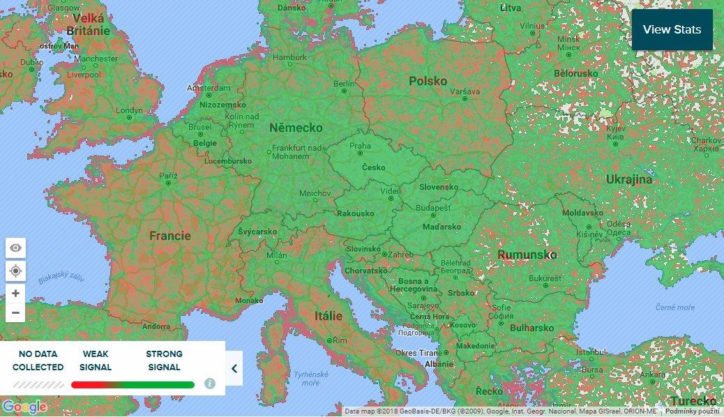 Mapa pokrytí mobilním signálem