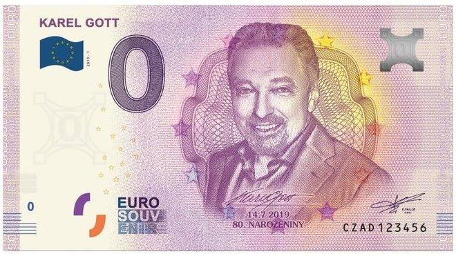 Karel Gott na pamětní eurobankovce