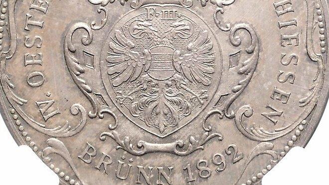 Stříbrná medaile František Josef I. (1848–1916). Rakouská spolková střelba Brno